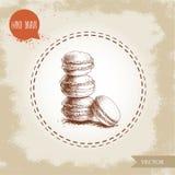 Куча печений Macaroon на винтажной старой предпосылке Очень вкусная меренга основала помадку французского печенья Стиль нарисован Стоковое фото RF