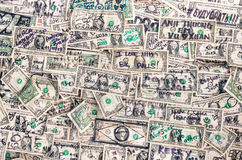 Куча предпосылки банкнот долларов Стоковая Фотография RF