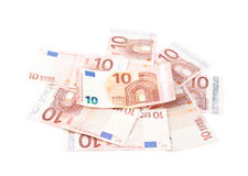 Куча 10 примечаний евро Стоковая Фотография