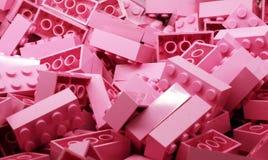 Куча розовых кирпичей игрушки Стоковое Изображение