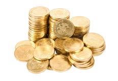 Куча русских монеток над белой предпосылкой Стоковая Фотография RF