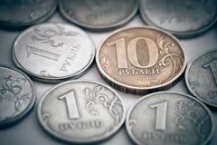 Куча русских монеток Стоковая Фотография RF