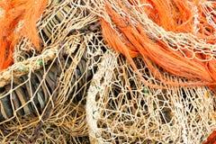 Куча рыболовных сетей и веревочки Стоковая Фотография