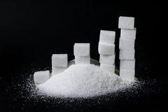 Куча сахара и диаграмма сделанная шишек/частей сахара стоковое фото rf