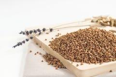 Куча семян гречихи на доске Стоковые Изображения RF