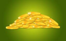 Куча сияющих золотых монеток Стоковые Фото