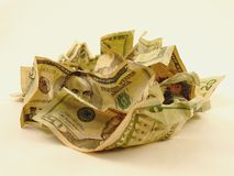 куча скомканная наличными деньгами Стоковое Изображение