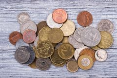 Куча собрания монеток, взгляд сверху Стоковые Фотографии RF
