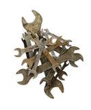 Куча старого ржавого изолированного ключа Стоковые Фотографии RF