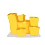 Куча товаров Стог картонных коробок Иллюстрация вектора стиля шаржа изолированная на белизне Стоковое Изображение RF