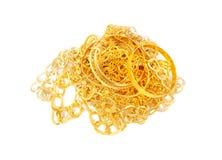 Куча цепей и браслетов золота стоковое фото rf