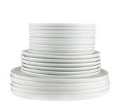 Куча чистых белых изолированных плит блюда Стоковые Фотографии RF