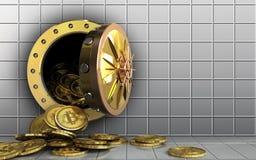 куча bitcoins 3d над белой стеной Стоковые Изображения