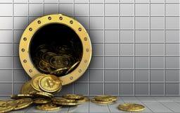 куча bitcoins 3d над белой стеной Стоковое Фото