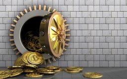 куча bitcoins 3d над белыми камнями Стоковые Фотографии RF
