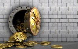 куча bitcoins 3d над белыми камнями Стоковые Изображения RF