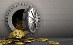 куча bitcoins 3d над железной стеной Стоковое Фото