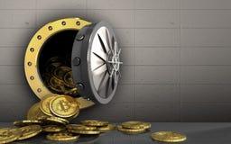 куча bitcoins 3d над железной стеной Стоковые Изображения RF
