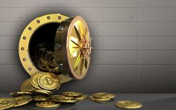 куча bitcoins 3d над железной стеной Стоковое Изображение RF