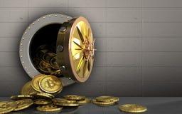 куча bitcoins 3d над железной стеной Стоковые Изображения