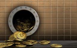 куча bitcoins 3d над золотой стеной Стоковые Фотографии RF