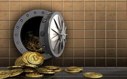 куча bitcoins 3d над золотой стеной Стоковое Изображение RF