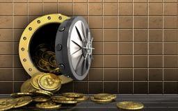 куча bitcoins 3d над золотой стеной Стоковое фото RF