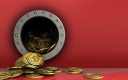 куча bitcoins 3d над красным цветом Стоковое Фото