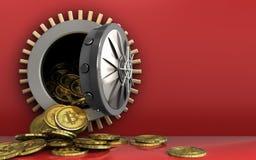 куча bitcoins 3d над красным цветом Стоковое фото RF