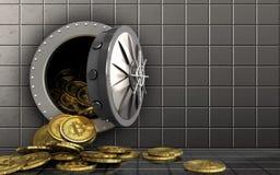 куча bitcoins 3d над стальной стеной Стоковые Фото