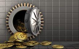 куча bitcoins 3d над стальной стеной Стоковые Фотографии RF