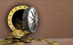 куча bitcoins 3d над стеной кирпичей Стоковая Фотография RF