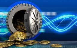 куча bitcoins 3d над цифровыми волнами Стоковая Фотография RF