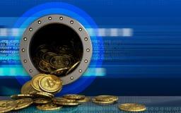 куча bitcoins 3d над кибер Стоковое фото RF