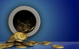 куча bitcoins 3d над синью Стоковые Изображения