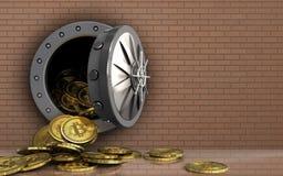 куча bitcoins 3d над стеной кирпичей Стоковые Фотографии RF
