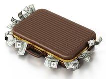 Кучи доллара внутри портфеля иллюстрация 3d бесплатная иллюстрация