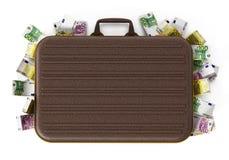 Кучи евро внутри портфеля иллюстрация 3d бесплатная иллюстрация