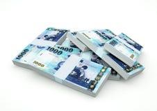 Кучи денег Тайваня изолированные на белой предпосылке стоковое изображение