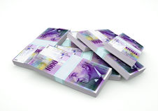 Кучи денег Швейцарии изолированные на белой предпосылке Стоковое Фото