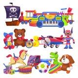 Кучи игрушки Милая красочная куча игрушек ребенк с автомобилем, ведром песка, медведем ребенка пластиковыми животными и собакой,  иллюстрация вектора