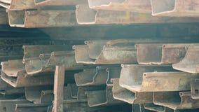 Кучи листа стога конца-вверх стальные в технологии стены предохранения от строительной площадки сток-видео