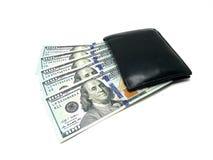 100 куч доллара счетов в бумажнике Изображение фото Стоковое Изображение RF