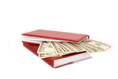 100 куч денег долларовых банкнот в красной тетради Стоковые Фотографии RF