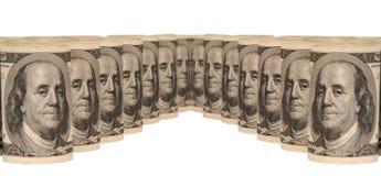 100 куч денег долларовых банкнот Стоковое Изображение