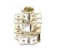 100 куч денег долларовых банкнот Стоковые Фотографии RF