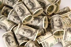 100 куч денег долларовых банкнот Стоковое Фото