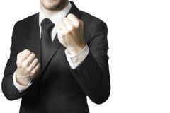 Кулаки бойца бизнесмена вверх Стоковая Фотография