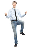 Кулаки счастливого человека обхватывая Стоковое Изображение