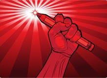 Кулак держа карандаш с пламенистым пунктом Стоковая Фотография